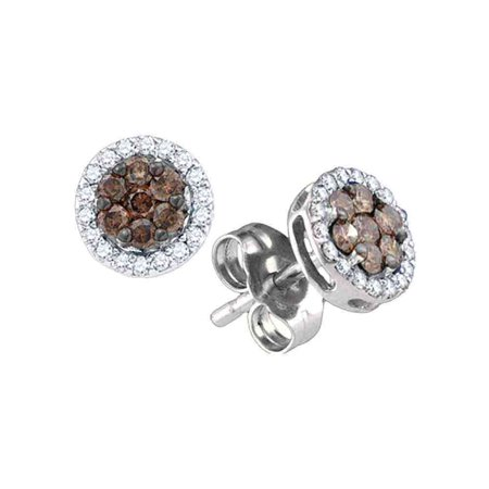 10k White Gold Chocolate Brown Diamond Flower Cluster Screwback Stud Earrings (1/4 Cttw)
