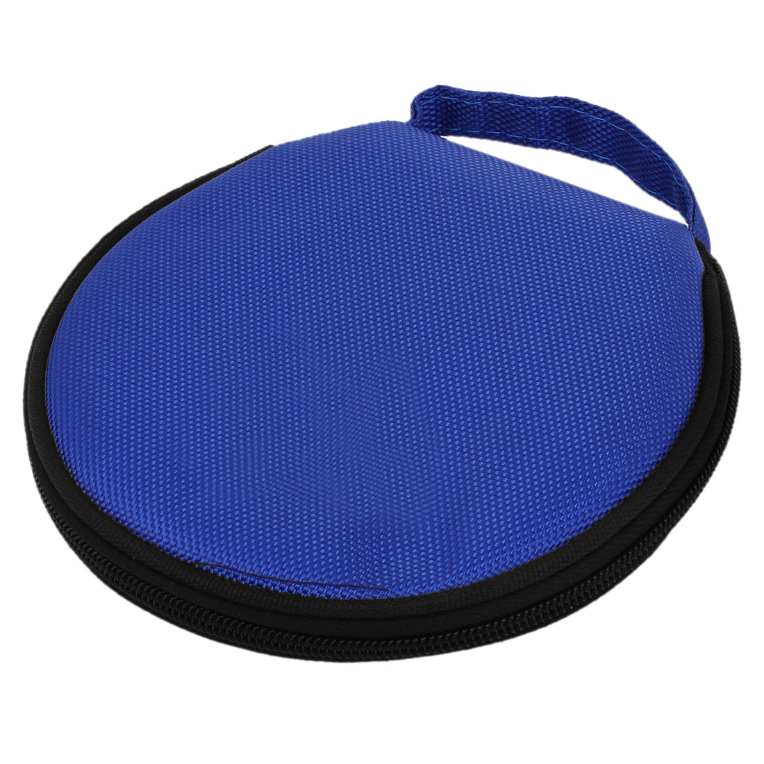 Unique Bargains Zippered 20 Slots CD DVD VCD Wallet Holder Storage Round Case Organizer Blue