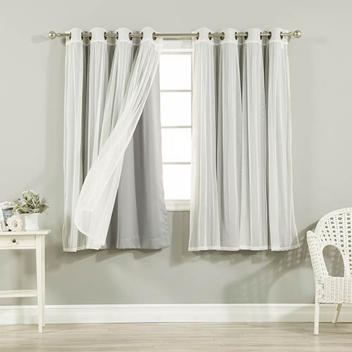 Grey 52 x 63 In. Sheer Lace and Blackout Window Treatments, Set of Four