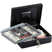 SentrySafe CB12 12-inch Large Black Cash Box with Removable Cash Tray and Key Lock