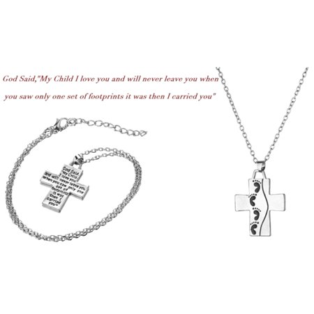 Footprints in the Sand Cross Tarnish Resistant Silverstone Necklace, (Footprints Cross)