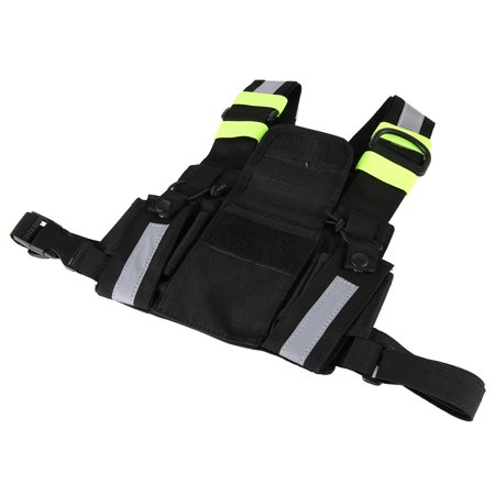 Radio Harness Chest Rig Bag Front & back Reflective Double Pocket Holster Vest - image 9 de 9
