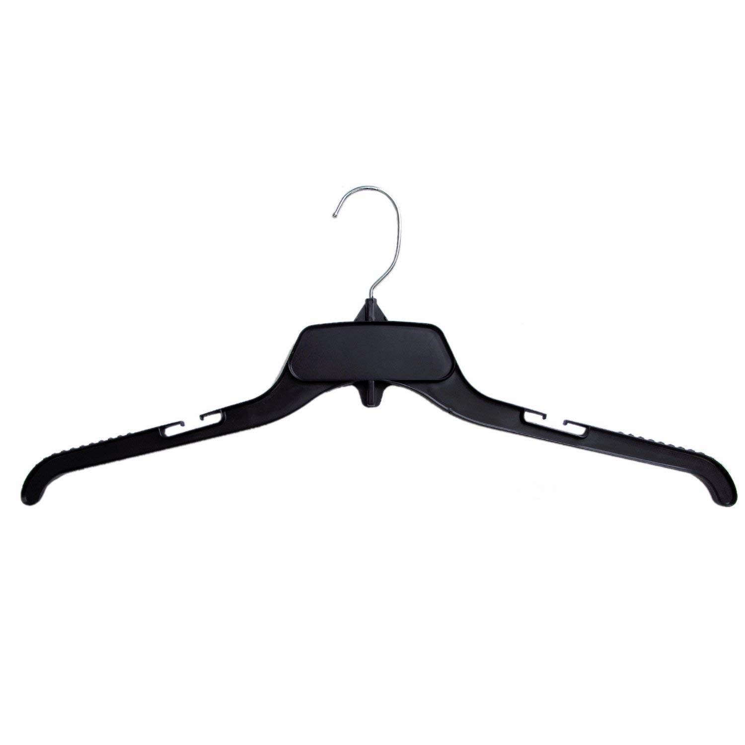 Hang On Shirt Hangers Recycled Plastic With Notches, Black, 19 Inch Pack Of 25 by Hang On