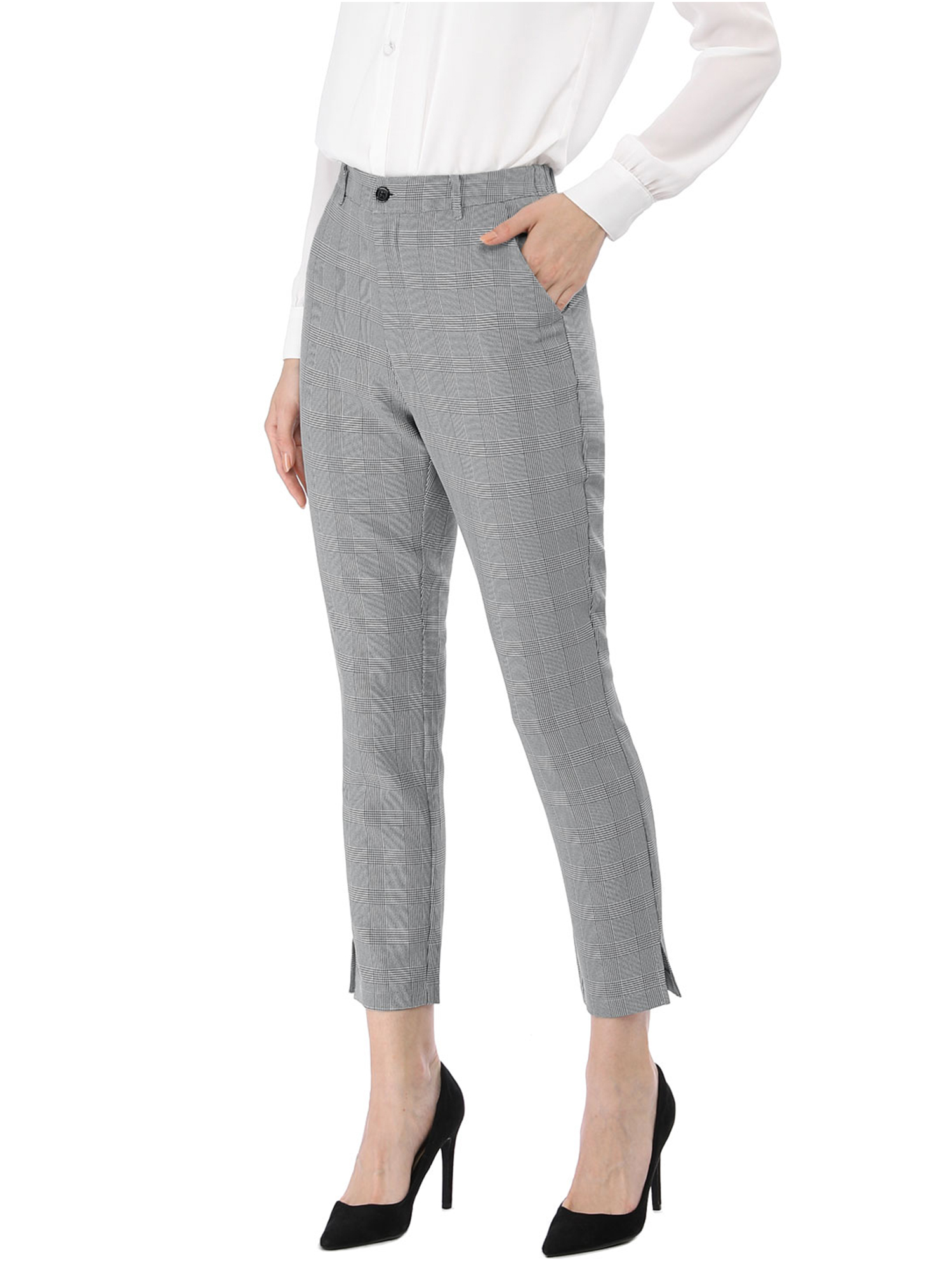 Unique Bargains Women's High Waisted Office Work Casual Ankle Plaid Pants (Size S / 6) Black