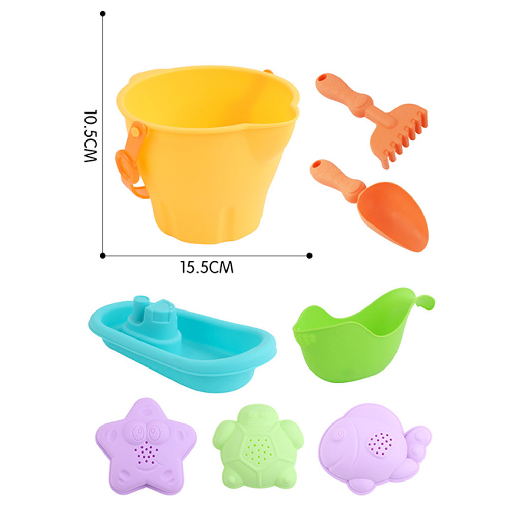 DZT1968 8Pcs Sand Sandbeach Kids Beach Toys Castle Bucket Spade Shovel Rake Water Tools
