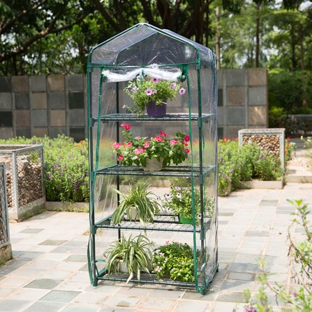 4 Tier Mini Portable Greenhouse With Transparent Cover For