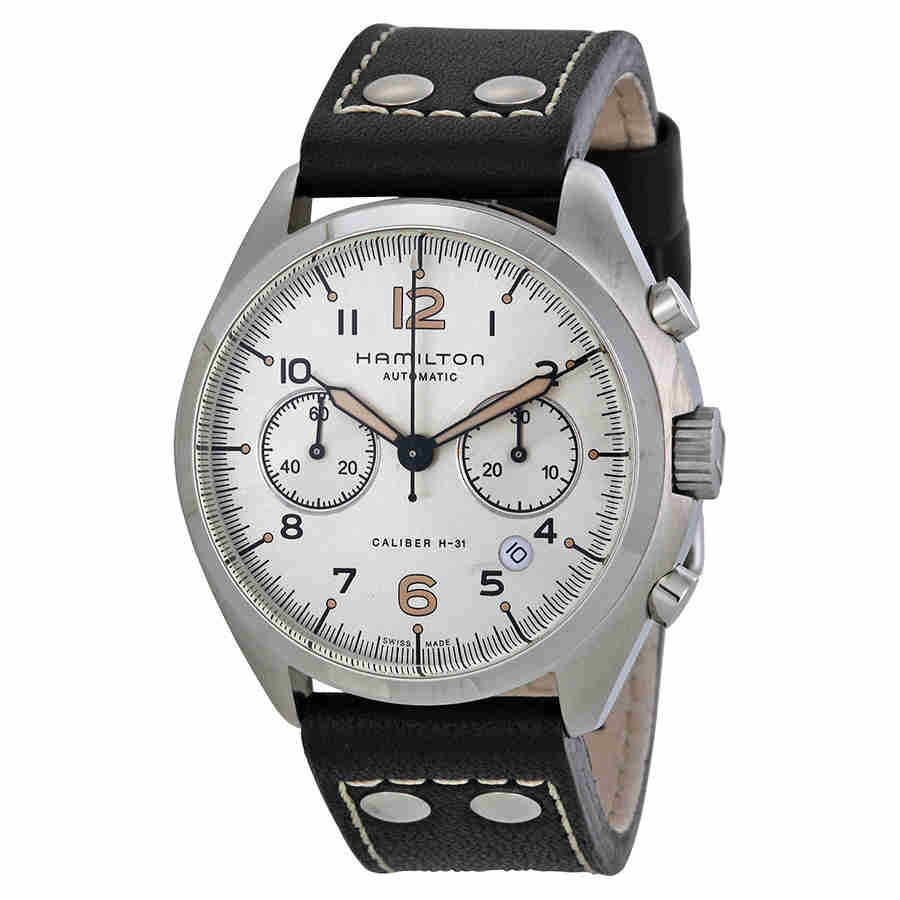 Hamilton Khaki Pilot Pioneer Automatic Chronograph Ivory Dial Black Leather Mens Watch H76416755 by Hamilton