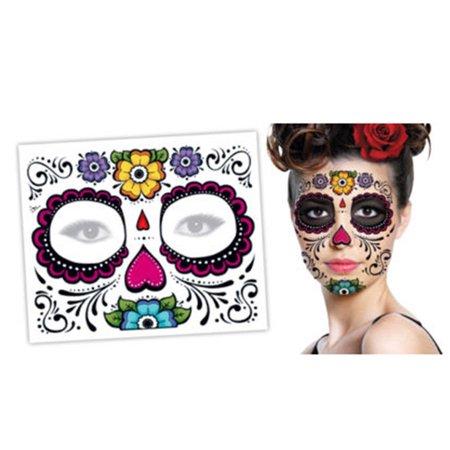 Dia De Los Muertos Tattoos (2PCS Day Of The Dead Dia de los Muertos Face Mask Sugar Skull Tattoo)