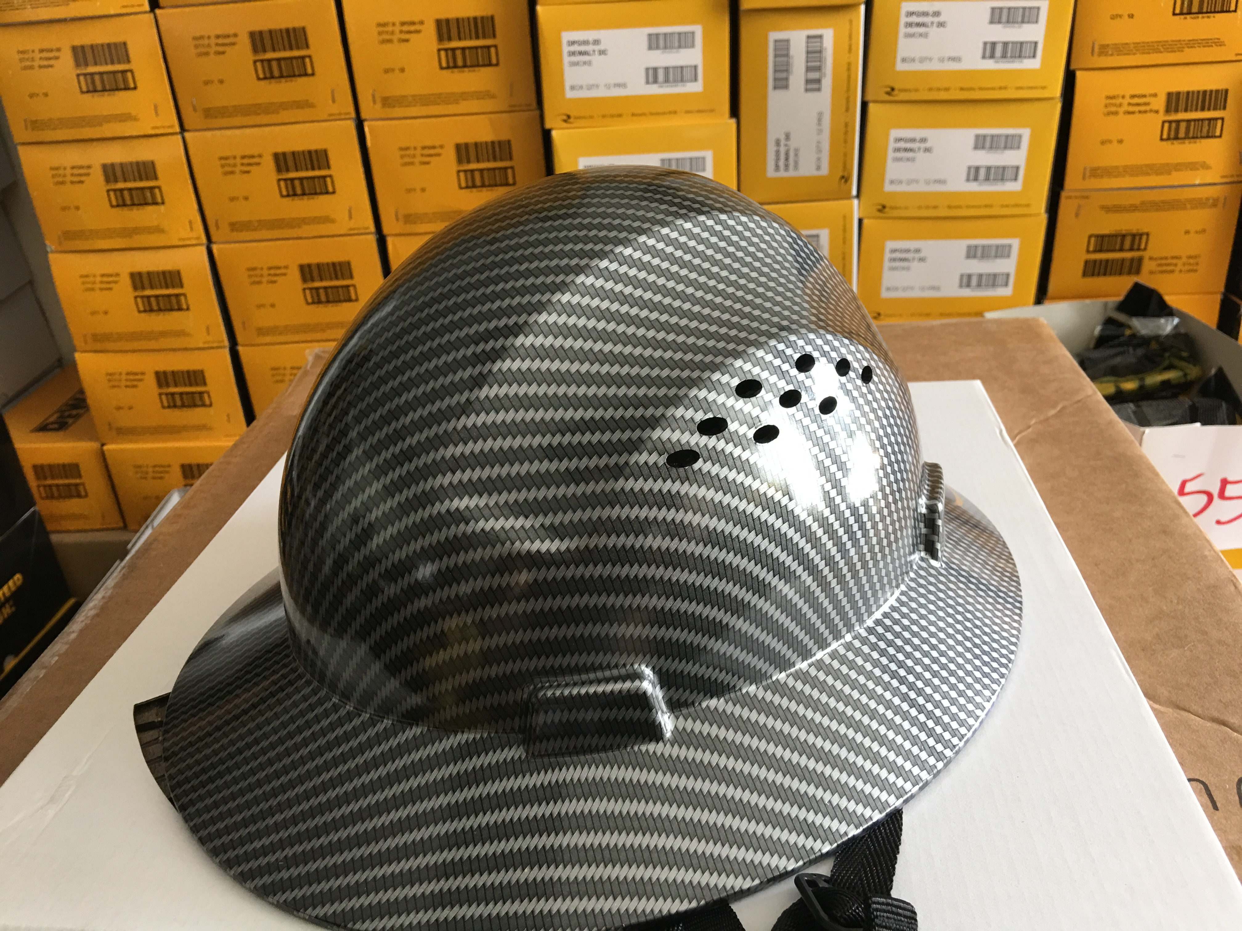 HDPE Hydro Dipped Black Full Brim Hard Hat with Fas-trac Suspension by Truecrest