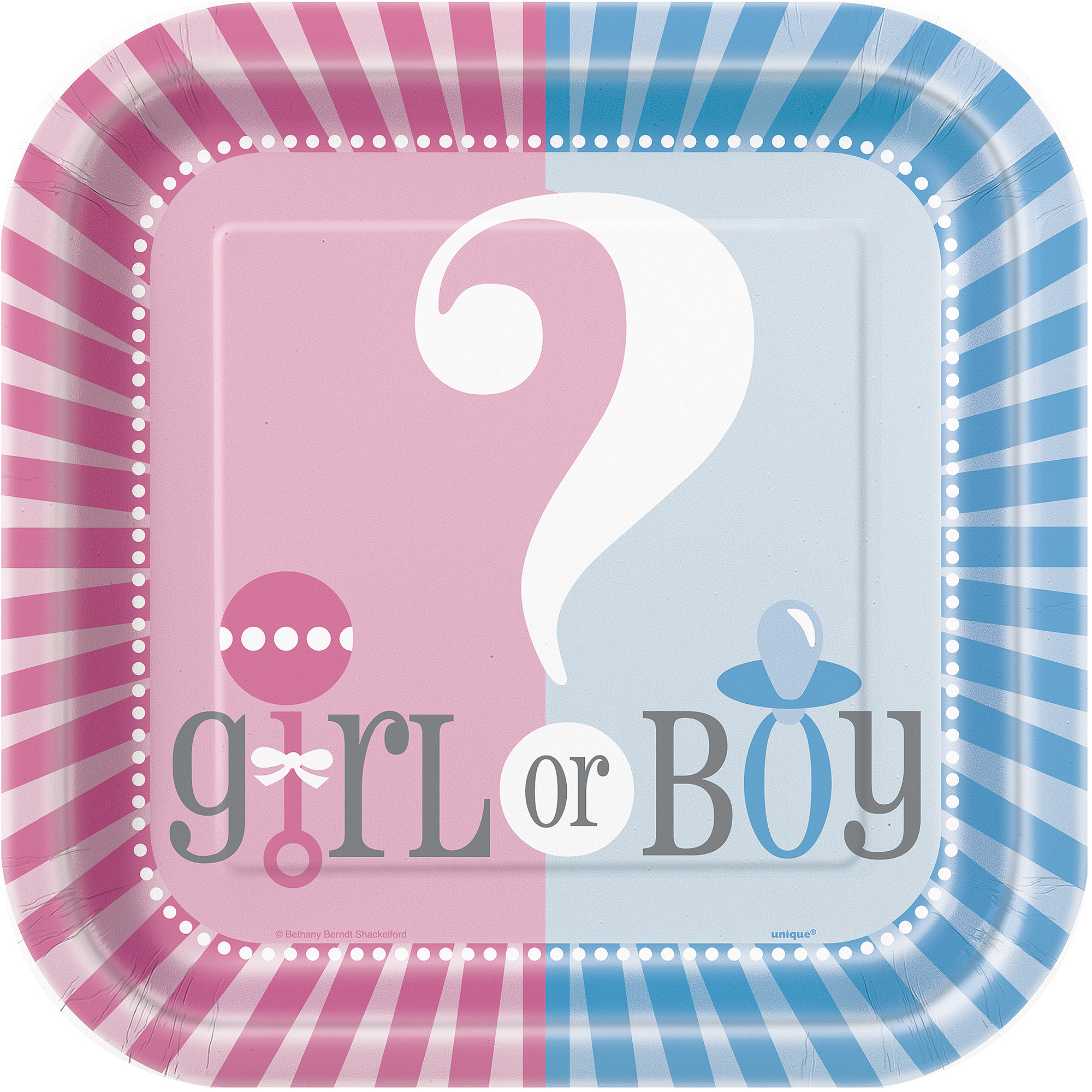 "9"" Square Gender Reveal Party Plates, 8ct"