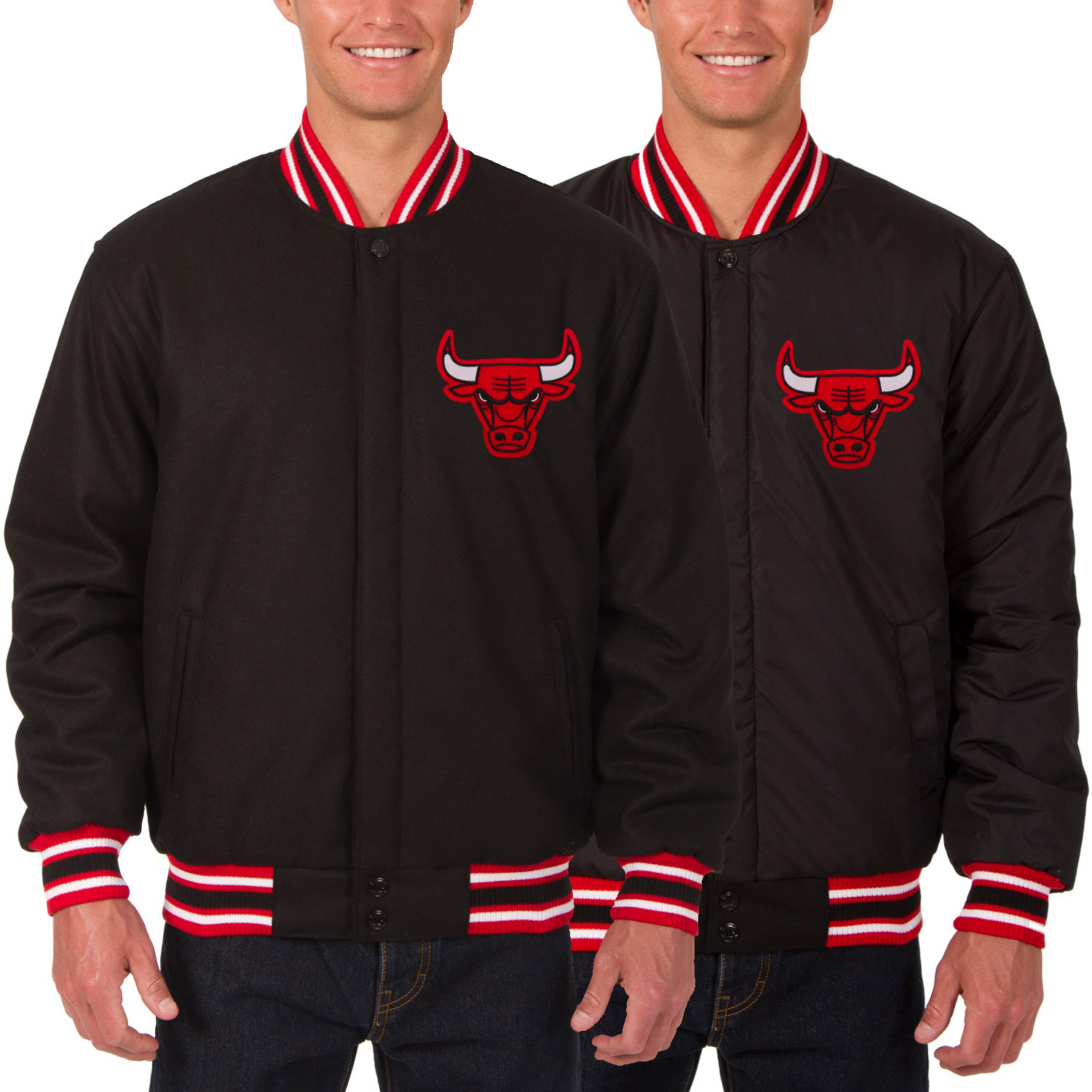 Chicago Bulls JH Design Reversible Wool Logo Jacket - Black