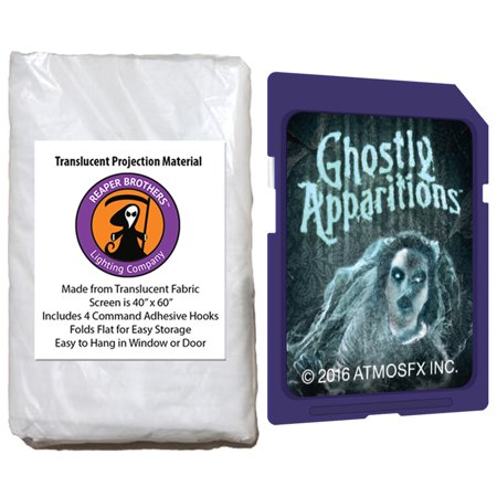 Halloween Digital Decoration SD Card and Screen Kit includes AtmosfearFX Ghostly Apparitions SD Card + Reaper Bros 60