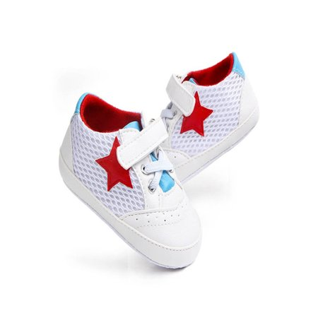 Newborn Infant Baby Solid Star Mesh Anti-slip Soft Casual Shoes Sneaker (Red Star Shoes)