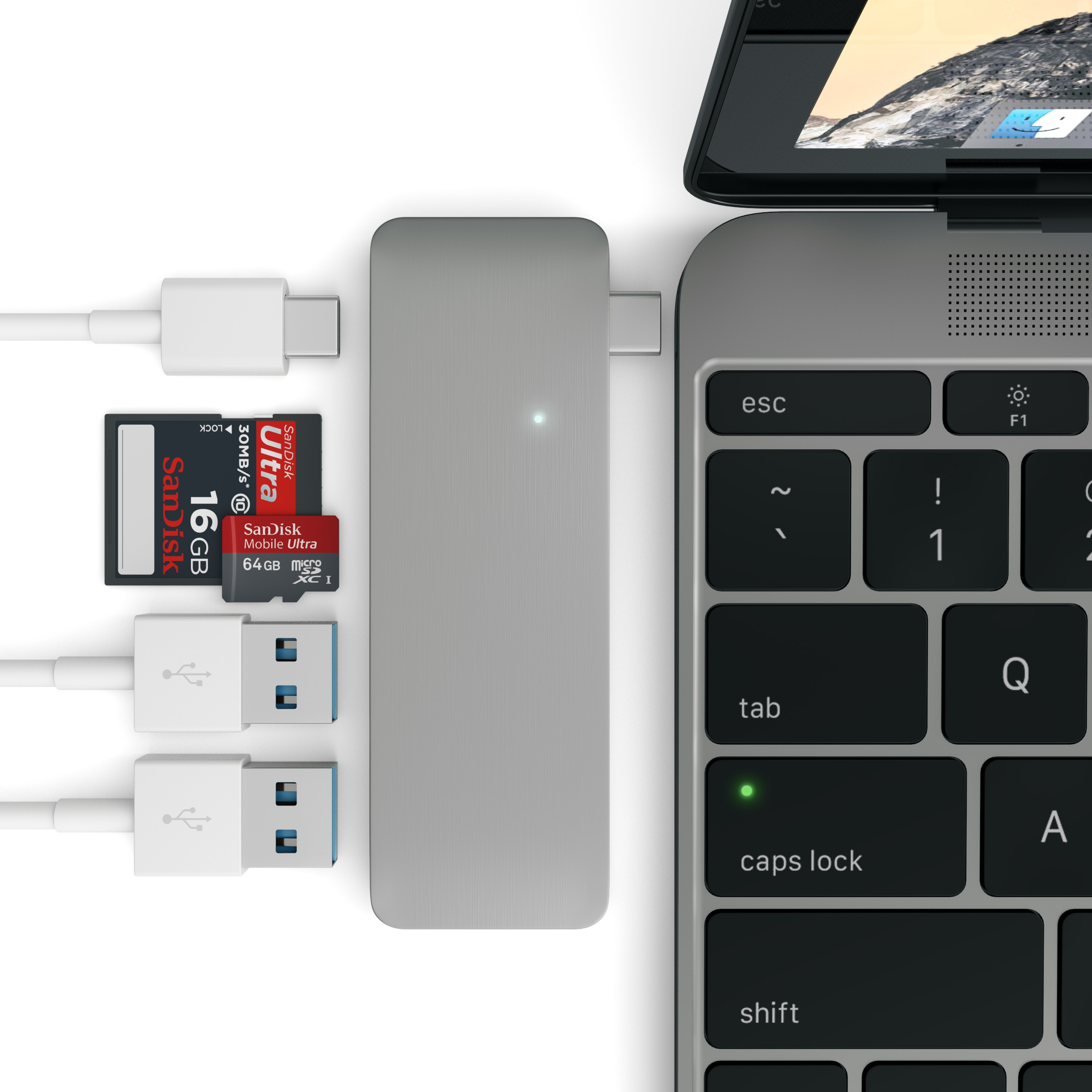 Satechi Type-C Pass Through USB Hub (Space Gray)
