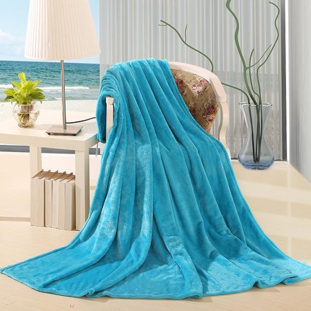 ULTRA SOFT THROW AQUA BLUE, Microlight Plush Solid Fleece Small Throw Blanket 50
