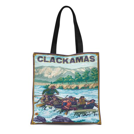 ASHLEIGH Canvas Tote Bag Retro White Water Rafting Clackamas Vintage Antique Reusable Handbag Shoulder Grocery Shopping