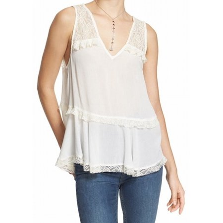Free People New White Womens Size Small S V Neck Lace Tank Cami Top
