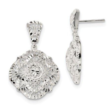 Sterling Silver Diamond Cut Dangle Post Stud Earrings (38.5 x 21.2