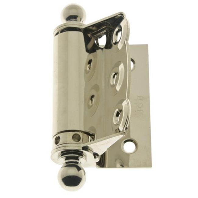 IDHBA 80320-014 Professional Grade Quality Solid Brass Half Surface Adjustable Spring Screen Door Hinges with Ball Finials Pair Bright Nickel
