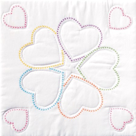 "Jack Dempsey Five Hearts Stamped White Quilt Blocks, 18"" x 18"""
