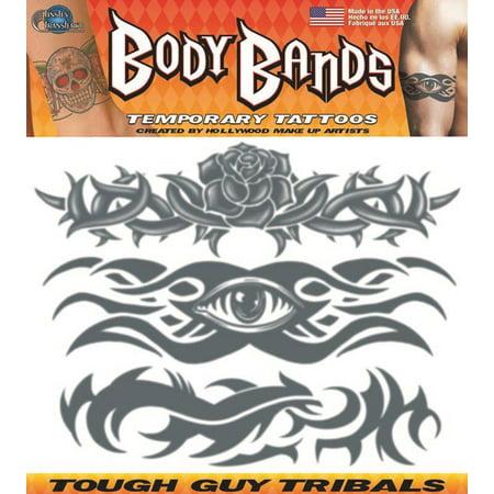 Tinsley Transfers Tough Guy Tribal Body Bands 3pc Temporary Tattoo FX Kit, 9.5