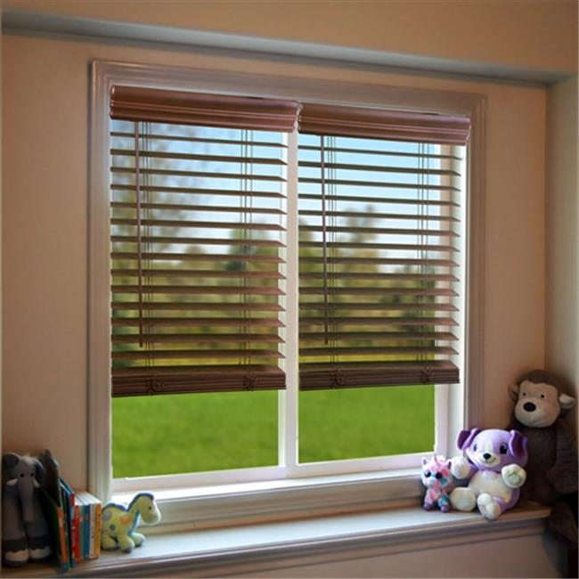 DEZ QJBK600480 2 in. Cordless Faux Wood Blind, Dark Oak -...