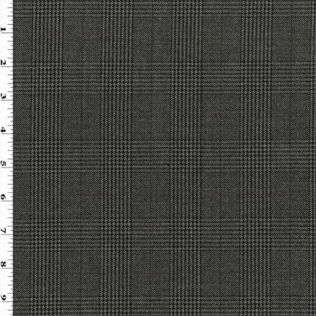 Black/Gray/Multi Wool Blend Glen Plaid Suiting, Fabric By the
