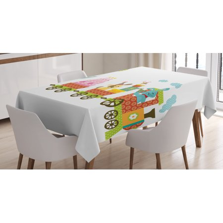 Birthday Decorations for Kids Tablecloth, Happy Cartoon Cake Animals Balloons in a Party Train Image, Rectangular Table Cover for Dining Room Kitchen, 52 X 70 Inches, Multicolor, by Ambesonne](Train Table Cover)