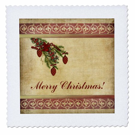3dRose Christmas Tree Decorated Branch With Red Ornaments, Flowers, and Ribbons, Merry Christmas - Quilt Square, 10 by 10-inch ()
