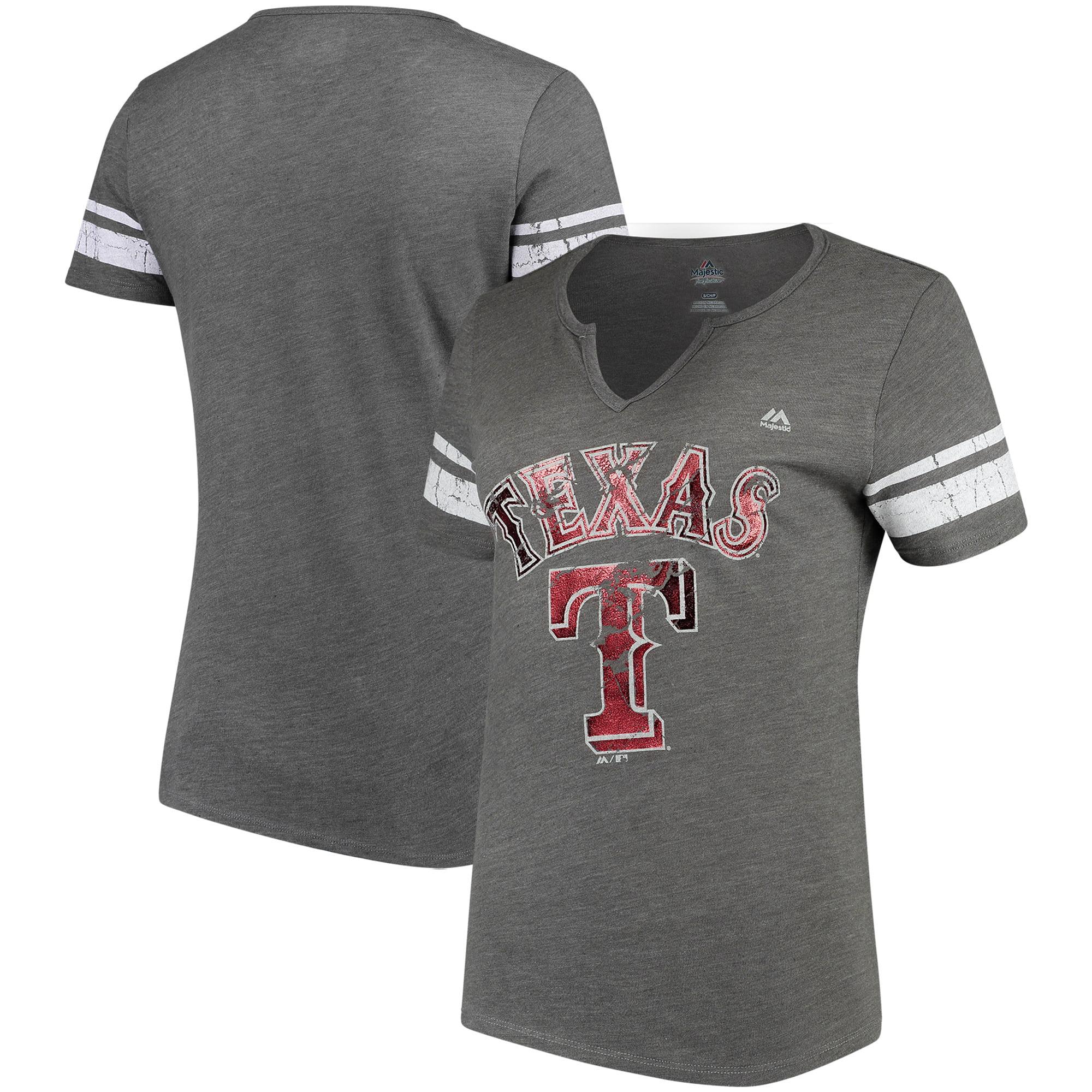 Texas Rangers Majestic Women's Two Seamer V-Notch Tri-Blend T-Shirt - Gray/White