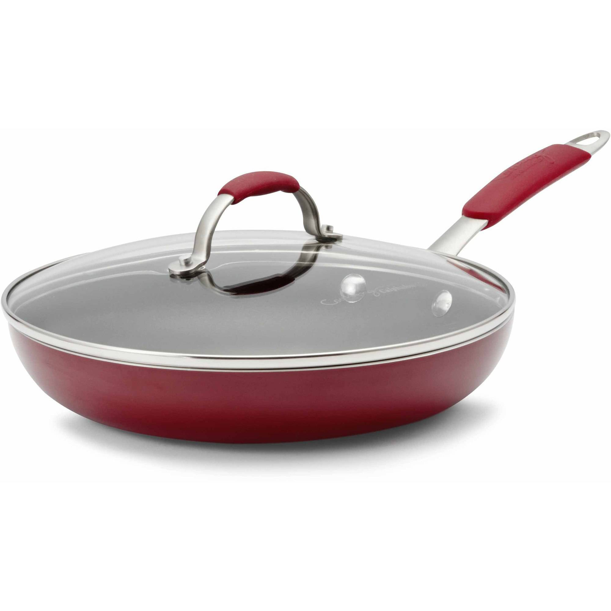 """Cooking with Calphalon Enamel Nonstick 10"""" Omelette Pan & Cover, Red"""