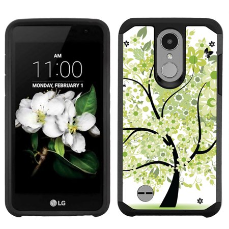 Dual Layer Case for LG Aristo 2 / Zone 4 / Fortune 2 / Tribute Dynasty/ Risio 3, OneToughShield ® ShockProof Protective Phone Case (Black) - Green Tree