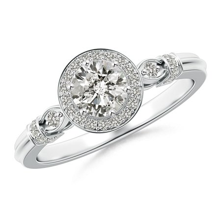 April Birthstone - Vintage Diamond Circle Ring with Diamond Shoulders in Platinum (Weight: 0.55ctwt) Circle Vintage Ring