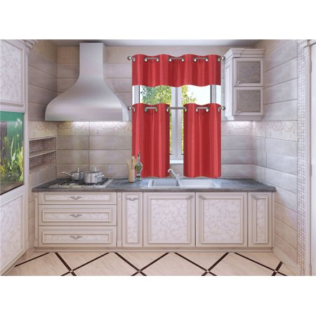 Lined Window Curtain Panel - K7 Red 3-Piece Solid Faux Silk Blackout Grommet Kitchen Window Curtain Set, Two (2) Lined Tiers Panel 28