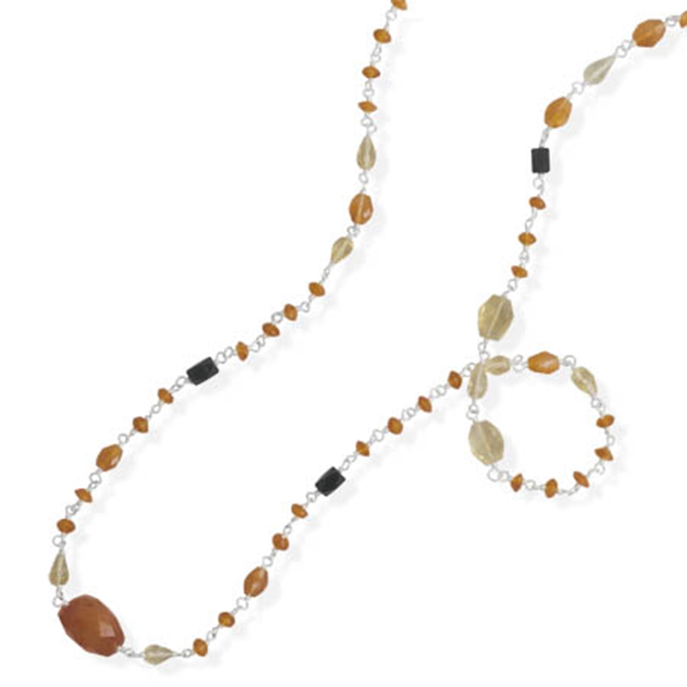 Orange Carnelian and Yellow Citrine Stone Necklace Sterling Silver 35-inch Length by unknown