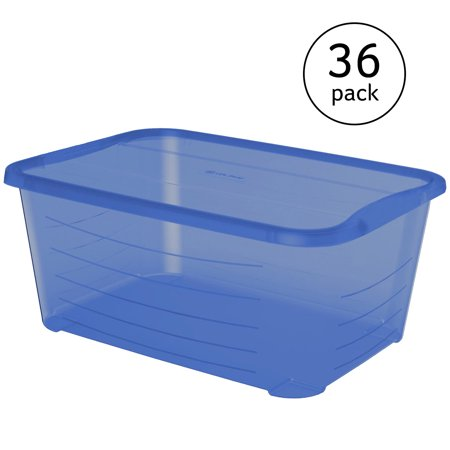 Life Story 5.5Q Rectangular Blue Plastic Protective Storage Shoe Box (36 - Blue Storage Box