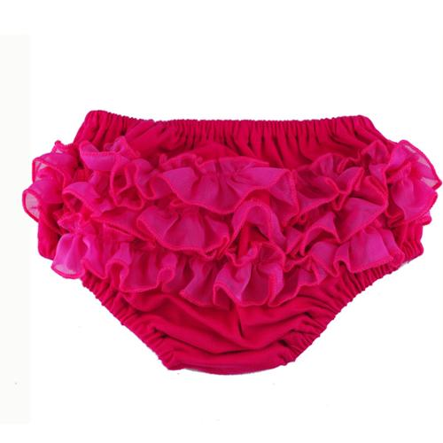 Reflectionz Baby Girls Fuchsia Ruffle Cotton Diaper Cover Bloomers 6M