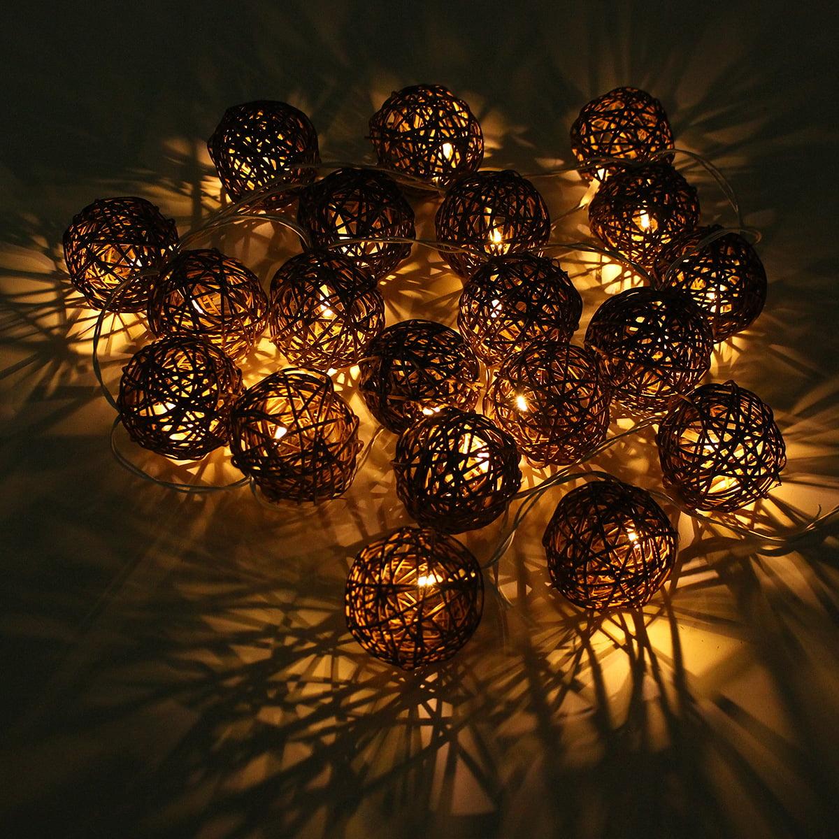 10.5ft LED Rattan Ball String Lights 20 Romantic Fairy ...