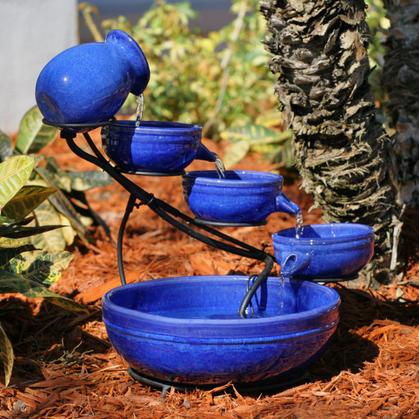 Smart Solar Blue Ceramic Cascade Outdoor Birdbath Fountain by Smart Solar