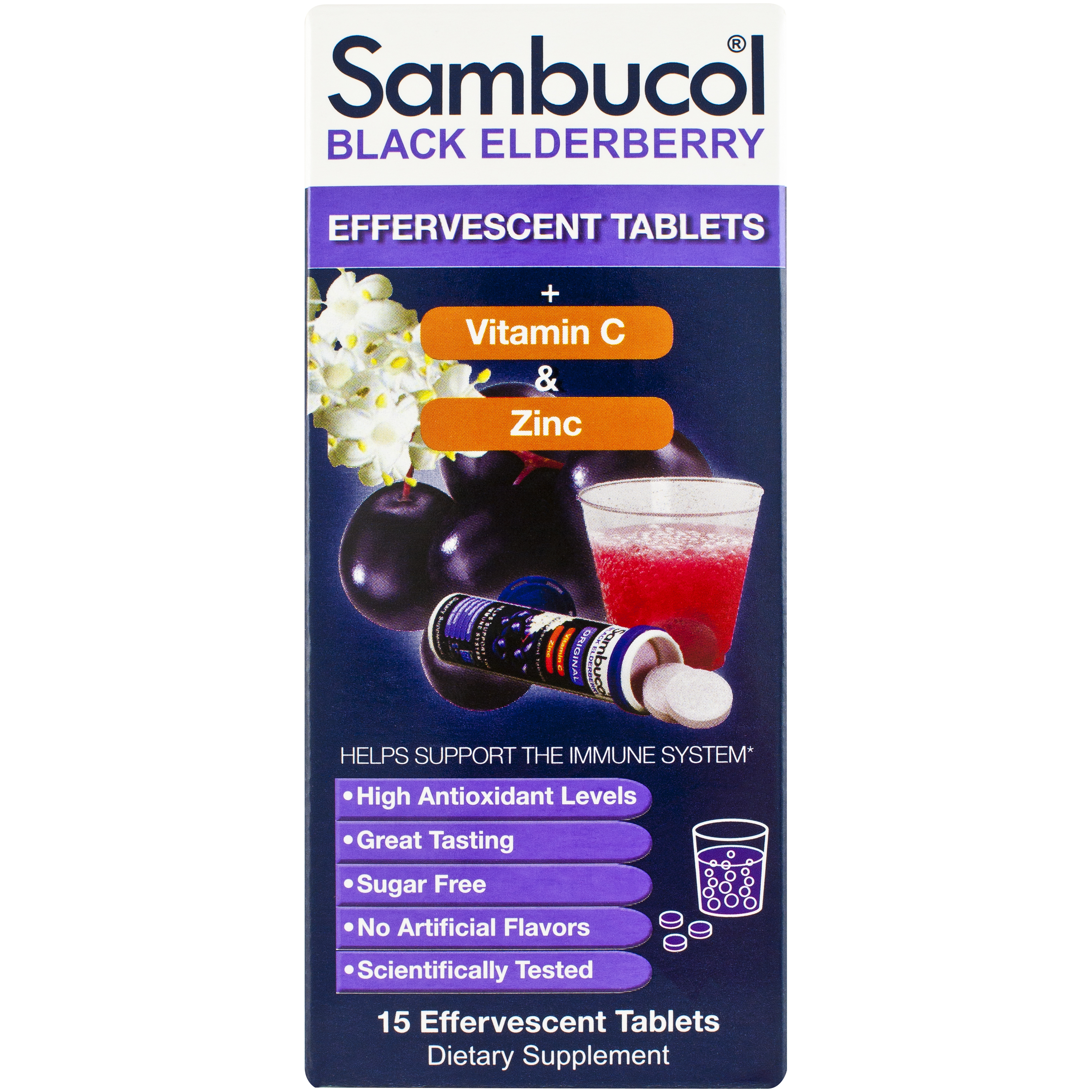 Sambucol Black Elderberry + Vitamin C + Zinc Dietary Supplement Effervescent Tablets, 15 count