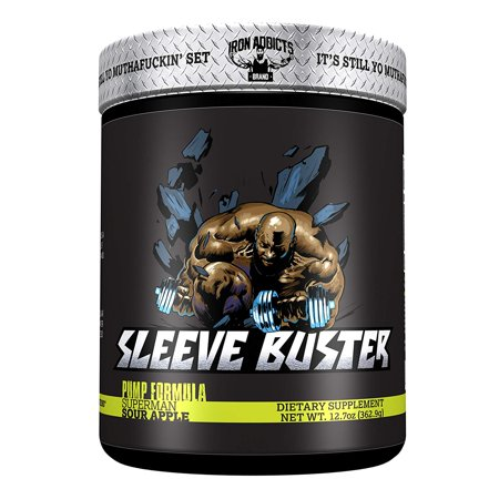 Sleeve Buster Iron Addicts Pre-Workout Pump Formula Formulated By CT Fletcher (30 Servings, Sour