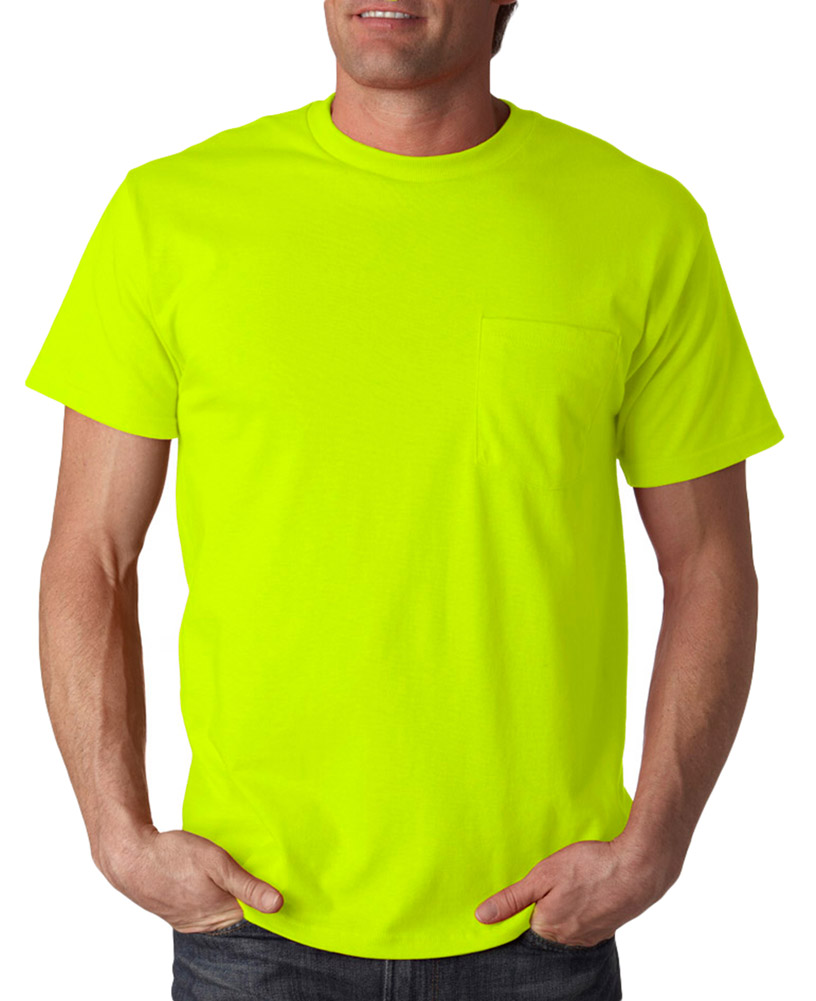 Fruit Of The Loom 3930p Cotton Pocket T Shirt Safety Green Medium