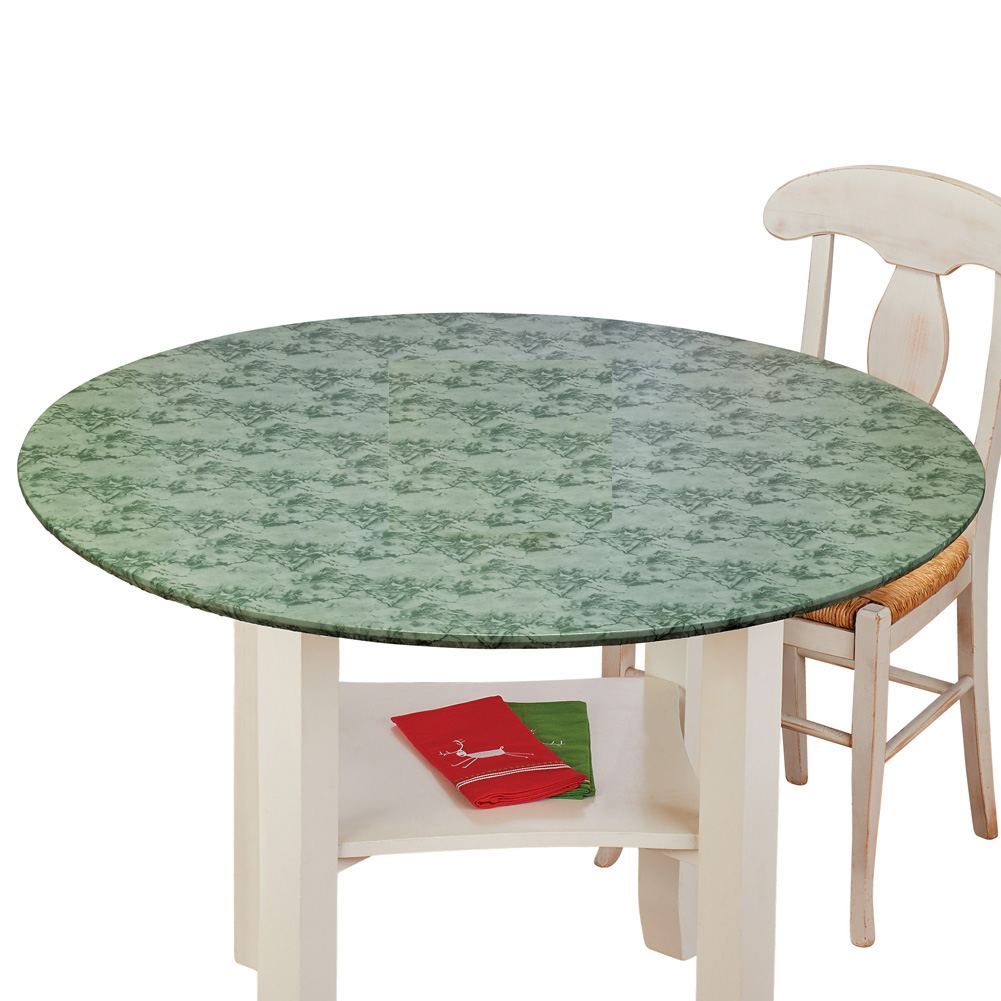 "Fitted Elastic Round Tablecloth Marble Pattern with No-Slip Vinyl and Soft Flannel Backing, 48"" Round, Sage Green"