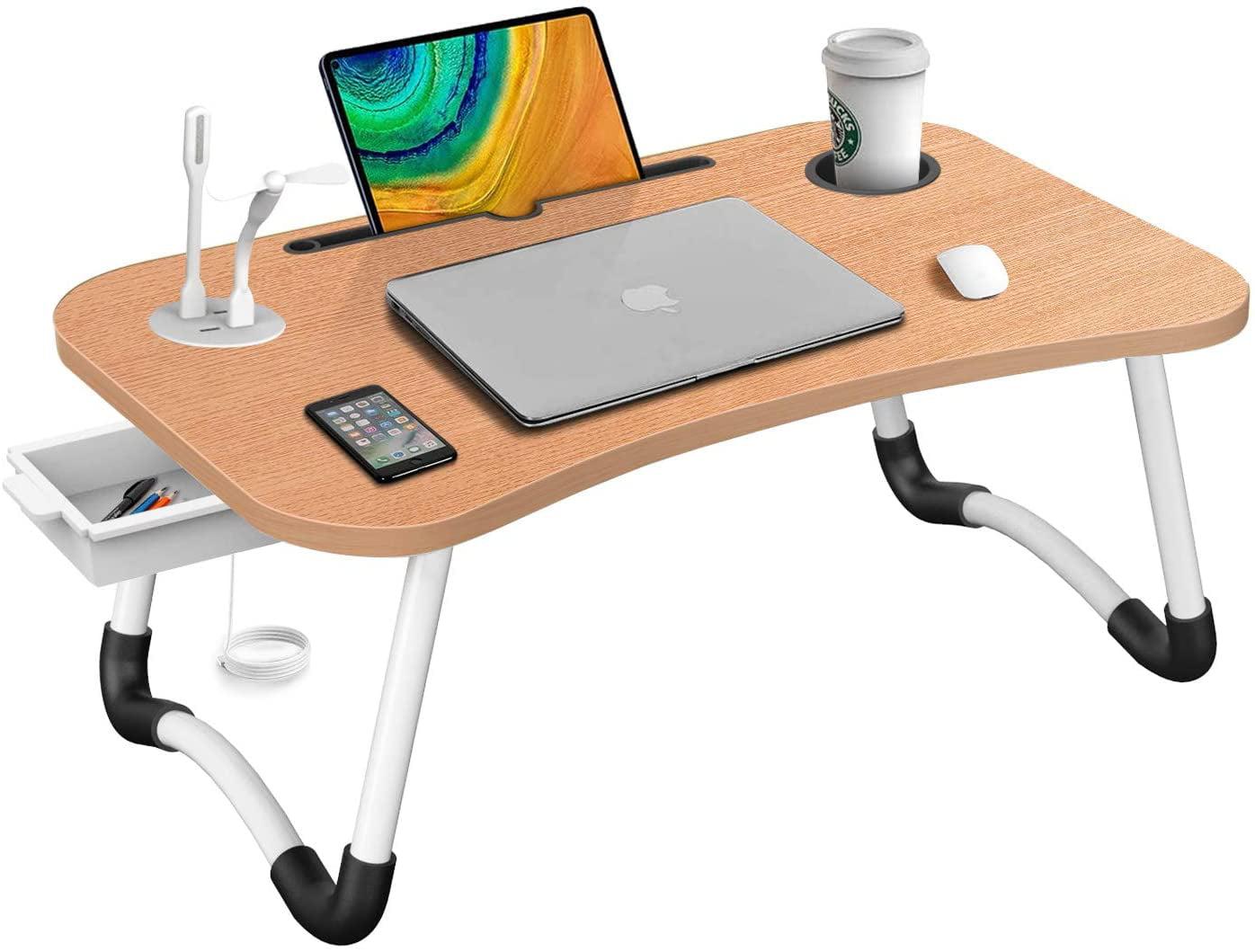 Hlhome Laptop Bed Desk Portable, Portable Folding Desk Pc Laptop Bed Table