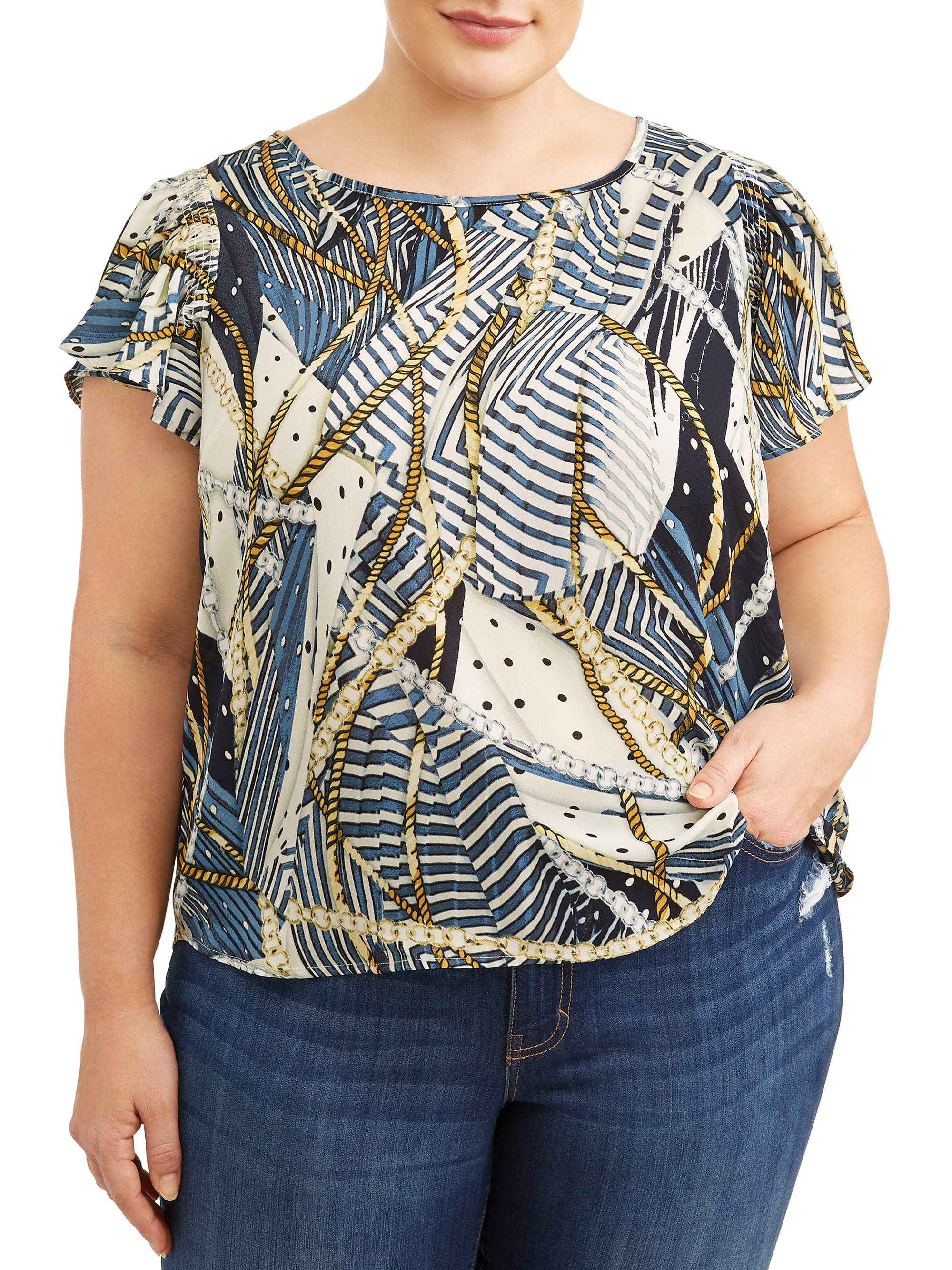 Women's Plus Sized Flutter Sleeve Printed Blouse