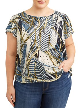 Product Image Women s Plus Sized Flutter Sleeve Printed Blouse 94d7a9227194