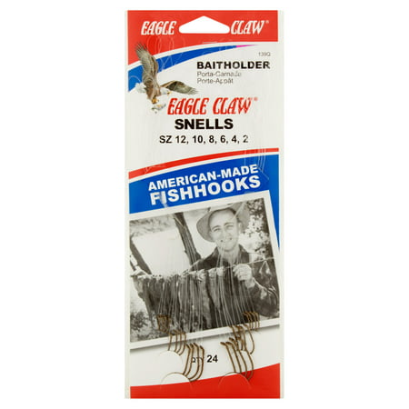 Eagle Claw Bait Holder Snells Fish Hooks, 24 count - Fish Hook Bait