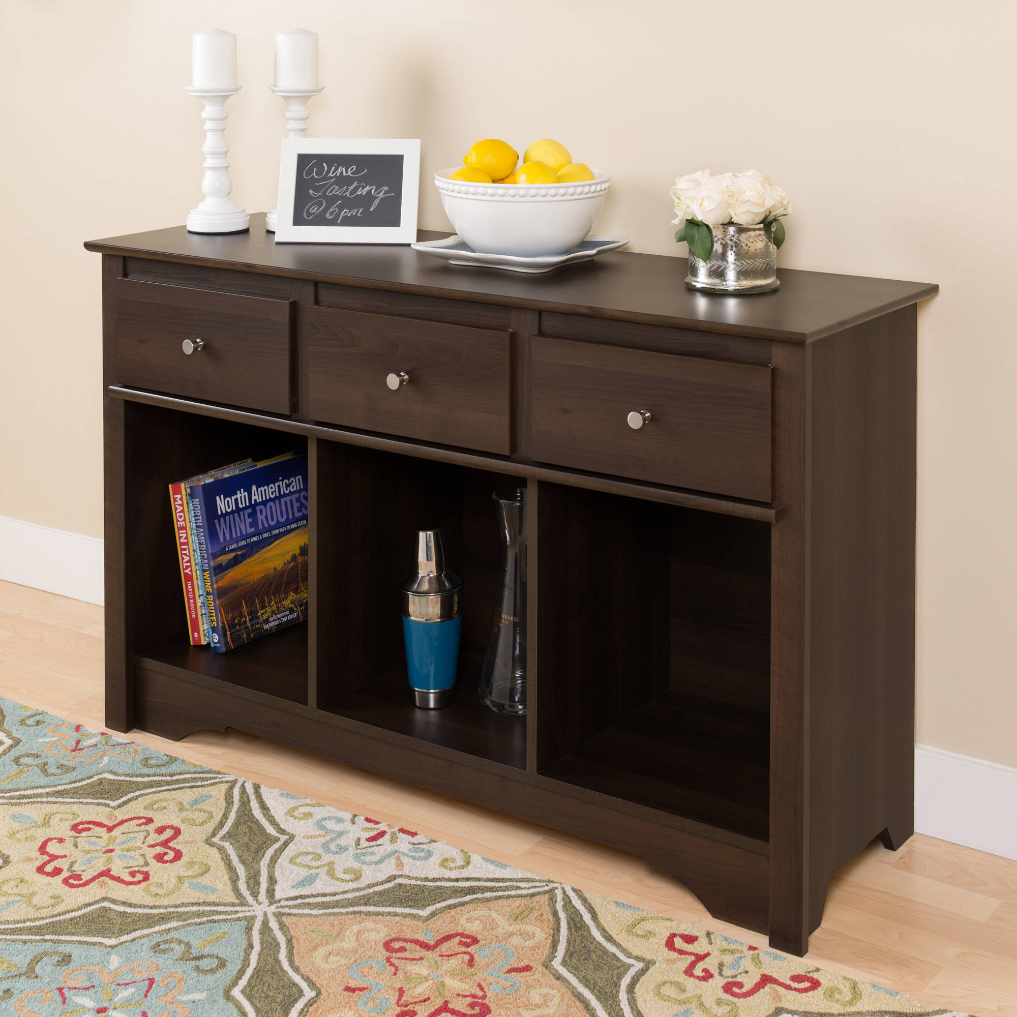 Prepac 3 Drawer Console Table in Espresso Finish by Prepac Manufacturing Ltd.