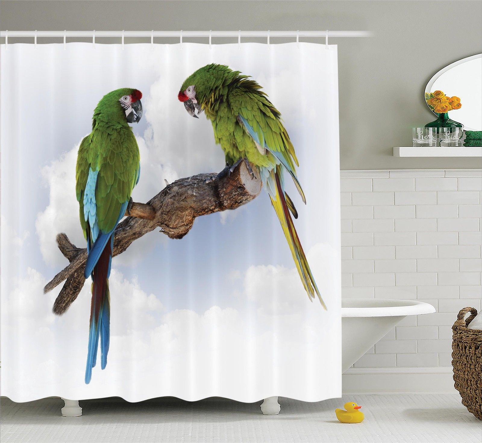 Parrots Decor  Two Parrot Macaw On A Branch Talking Birds...