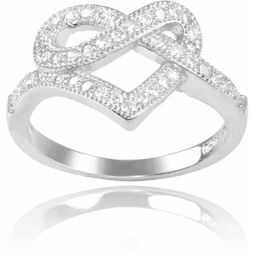 Brinley Co. Women's CZ Sterling Silver Heart Knot Ring